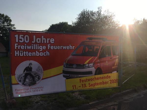 Werbebanner der FF Hüttenbach