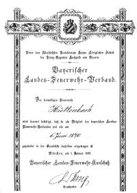 Urkunde anlässlich der Aufnahme in den Bayerischen Landes-Feuerwehr-Verband